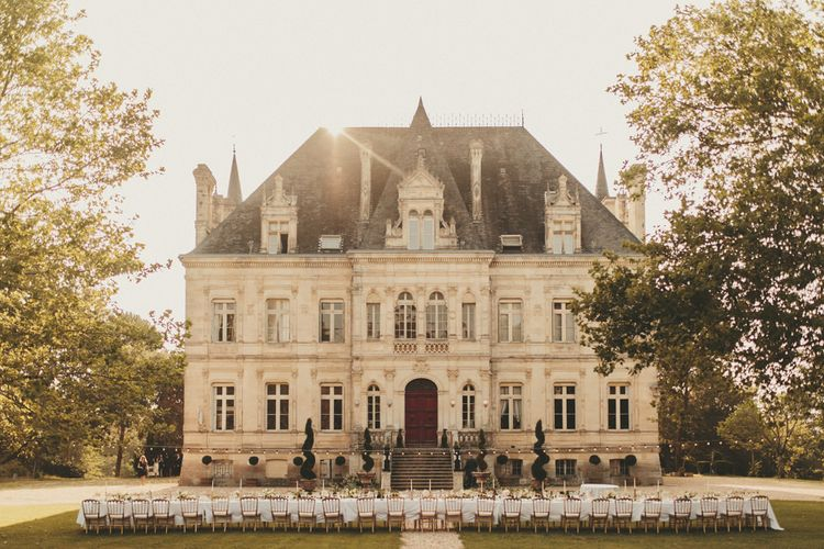 Stunning wedding venue in France with long table for wedding breakfast