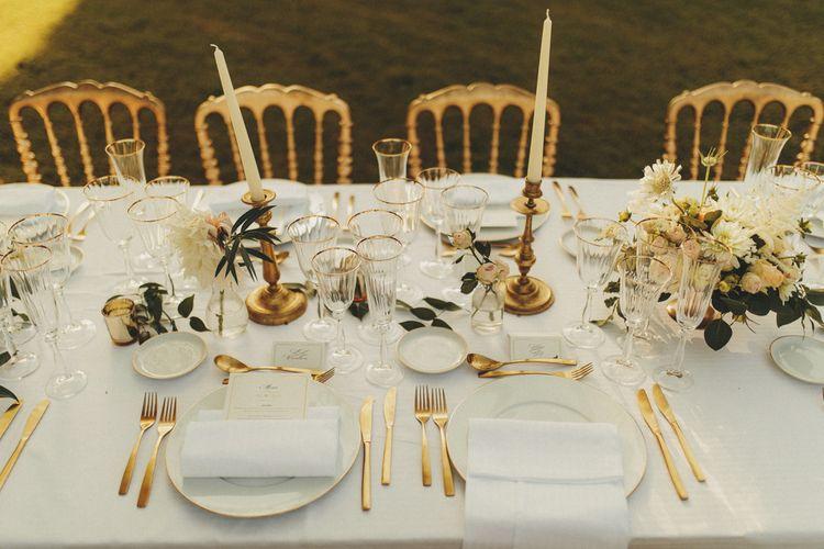 Gold cutlery for wedding breakfast