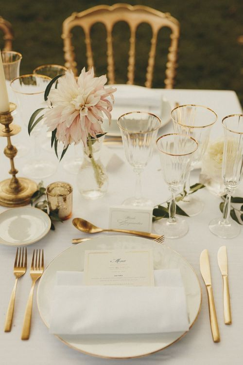Simple wedding table decor at French chateau