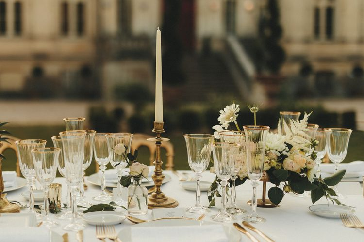 Minimal wedding table decor at French wedding