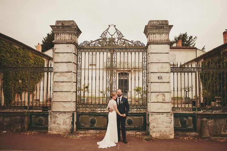 Bride and groom at French destination wedding