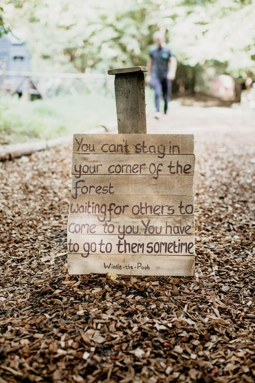 Wooden Quote Wedding Sign | Burgundy Outdoor Woodland Ceremony & Country Tipi & Horse Bar Reception at The Ancient Woodland, Hertfordshire, Planned & Styled by Caroline Hitchcock Events | Alex Wysocki Photography | DgtlCouture Film