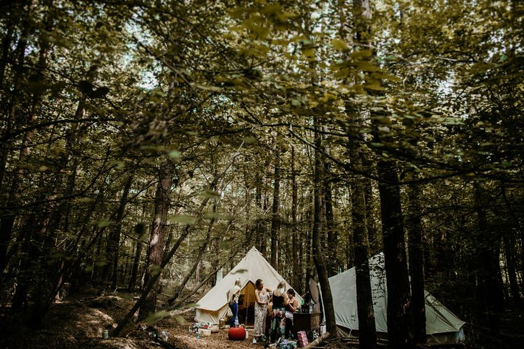 Bell Tent Bridal Preparations | Burgundy Outdoor Woodland Ceremony & Country Tipi & Horse Bar Reception at The Ancient Woodland, Hertfordshire, Planned & Styled by Caroline Hitchcock Events | Alex Wysocki Photography | DgtlCouture Film