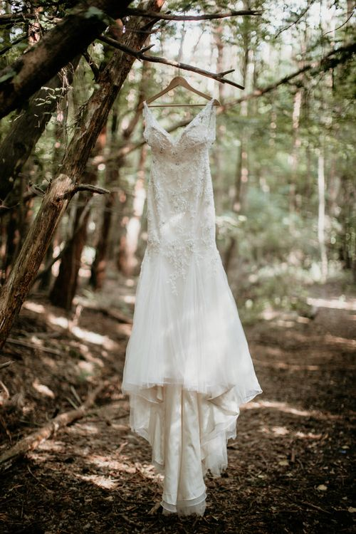 Maggie Sottero Wedding Gown | Burgundy Outdoor Woodland Ceremony & Country Tipi & Horse Bar Reception at The Ancient Woodland, Hertfordshire, Planned & Styled by Caroline Hitchcock Events | Alex Wysocki Photography | DgtlCouture Film
