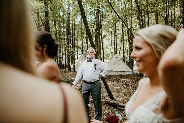 Father of The Bride First Look | Burgundy Outdoor Woodland Ceremony & Country Tipi & Horse Bar Reception at The Ancient Woodland, Hertfordshire, Planned & Styled by Caroline Hitchcock Events | Alex Wysocki Photography | DgtlCouture Film