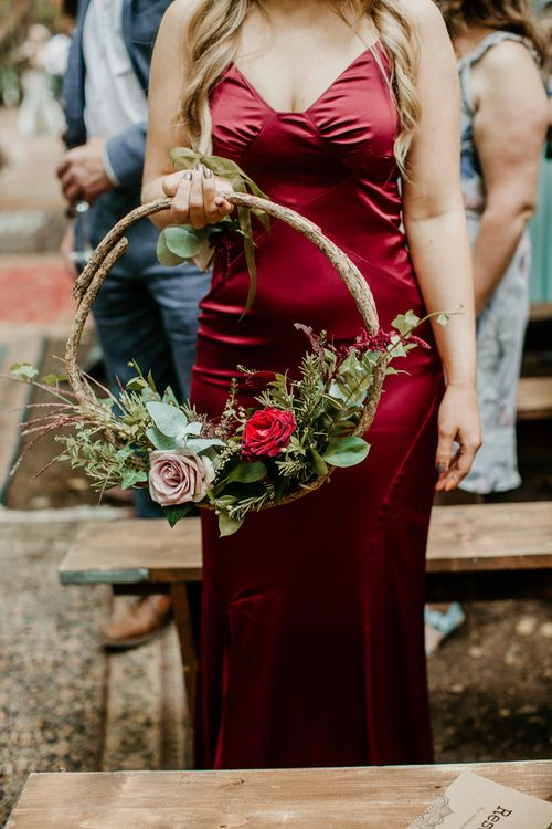 Wedding Hoop Wedding Flowers | Burgundy Outdoor Woodland Ceremony & Country Tipi & Horse Bar Reception at The Ancient Woodland, Hertfordshire, Planned & Styled by Caroline Hitchcock Events | Alex Wysocki Photography | DgtlCouture Film