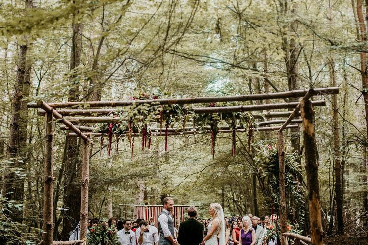 Wedding Ceremony | Burgundy Outdoor Woodland Ceremony & Country Tipi & Horse Bar Reception at The Ancient Woodland, Hertfordshire, Planned & Styled by Caroline Hitchcock Events | Alex Wysocki Photography | DgtlCouture Film
