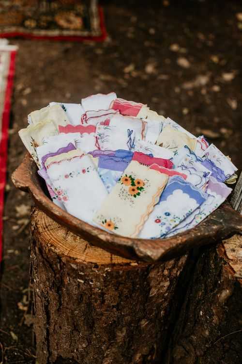 Vintage Hankies, for Happy Tears | Burgundy Outdoor Woodland Ceremony & Country Tipi & Horse Bar Reception at The Ancient Woodland, Hertfordshire, Planned & Styled by Caroline Hitchcock Events | Alex Wysocki Photography | DgtlCouture Film