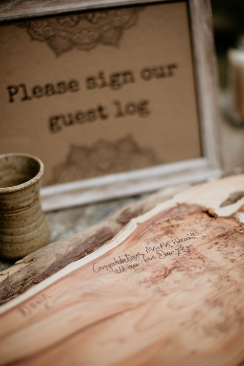 Wooden Block Guest Book | Burgundy Outdoor Woodland Ceremony & Country Tipi & Horse Bar Reception at The Ancient Woodland, Hertfordshire, Planned & Styled by Caroline Hitchcock Events | Alex Wysocki Photography | DgtlCouture Film