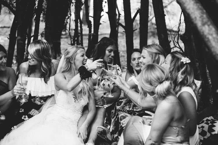 Wedding Guests | Burgundy Outdoor Woodland Ceremony & Country Tipi & Horse Bar Reception at The Ancient Woodland, Hertfordshire, Planned & Styled by Caroline Hitchcock Events | Alex Wysocki Photography | DgtlCouture Film