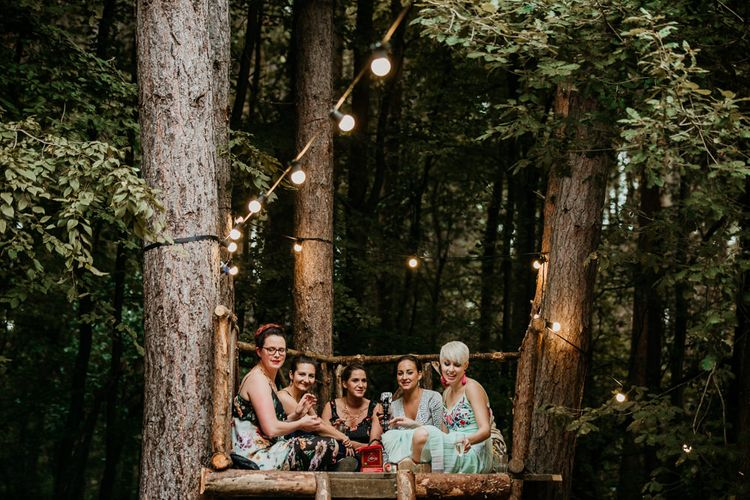 Stylish Wedding Guests | Burgundy Outdoor Woodland Ceremony & Country Tipi & Horse Bar Reception at The Ancient Woodland, Hertfordshire, Planned & Styled by Caroline Hitchcock Events | Alex Wysocki Photography | DgtlCouture Film