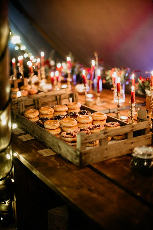 Donuts | Burgundy Outdoor Woodland Ceremony & Country Tipi & Horse Bar Reception at The Ancient Woodland, Hertfordshire, Planned & Styled by Caroline Hitchcock Events | Alex Wysocki Photography | DgtlCouture Film
