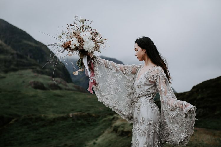 Embellished 'Astraea'  Ritual by Brooke Tyson Bridal Gown with Bell Sleeves | Celestial Vale Scottish Highlands Inspiraiton | Heavenly Blooms | Bonnie Jenkins Photography