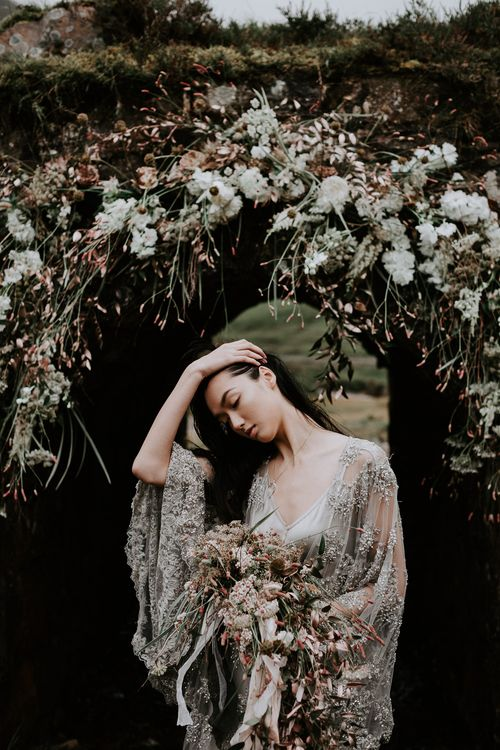 Floral Arch | Embellished 'Astraea'  Ritual by Brooke Tyson Bridal Gown | Celestial Vale Scottish Highlands Inspiraiton | Heavenly Blooms | Bonnie Jenkins Photography