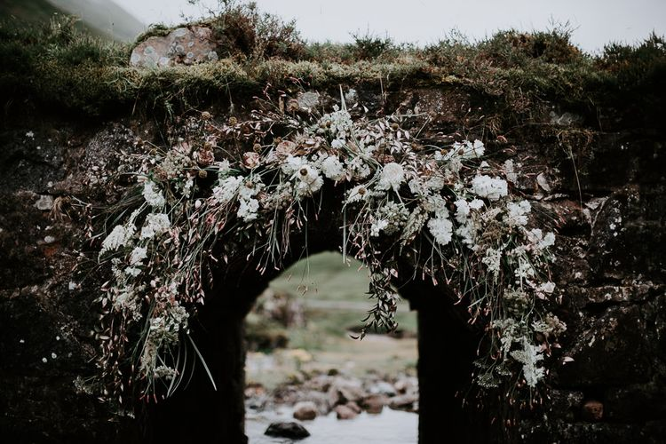 Romantic White & Pink Floral Arch | Embellished 'Astraea'  Ritual by Brooke Tyson Bridal Gown | Celestial Vale Scottish Highlands Inspiraiton | Heavenly Blooms | Bonnie Jenkins Photography