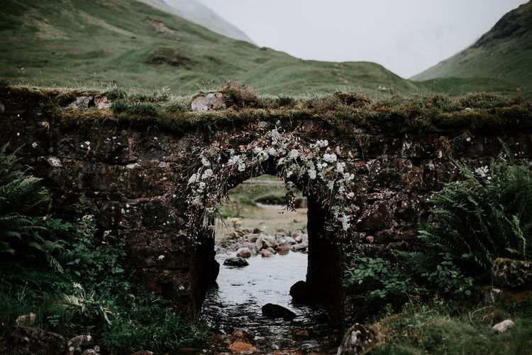 Romantic Blush Pink & White Wedding Flower Arch | Embellished 'Astraea'  Ritual by Brooke Tyson Bridal Gown | Celestial Vale Scottish Highlands Inspiraiton | Heavenly Blooms | Bonnie Jenkins Photography