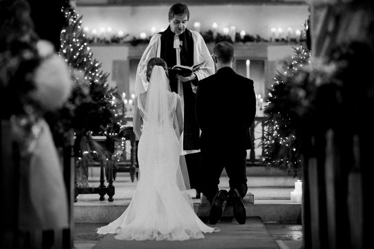 Church Wedding Ceremony with Bride in Essense of Australia Wedding Dress and Groom in Marks and Spencer Suit