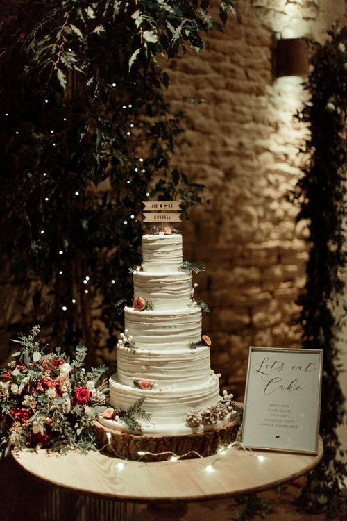 Five Tier Buttercream Wedding Cake on Tree Slice Cake Stand  & Wooden Cake Topper