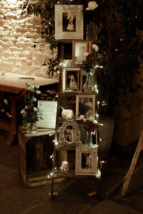 Vintage Step Ladder, Fairy Lights and Family Portraits Display