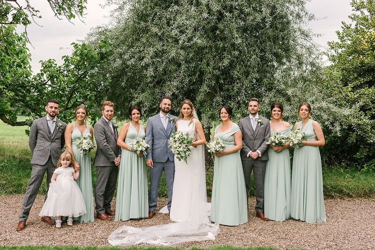 Light Grey and Green Bridal Party Fashion