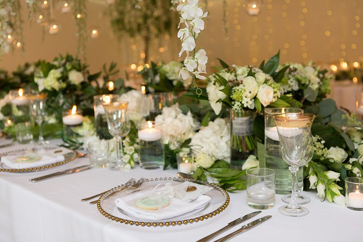 Glass Rimmed Charger Plates and Goblets