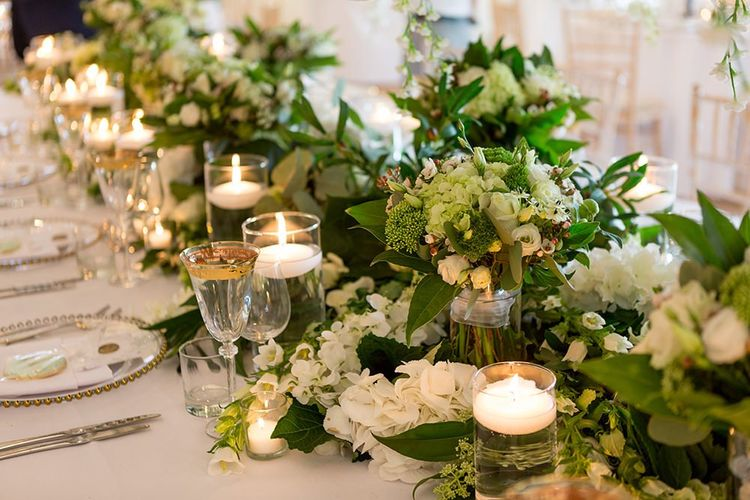 White and Green Wedding Flowers with Candles