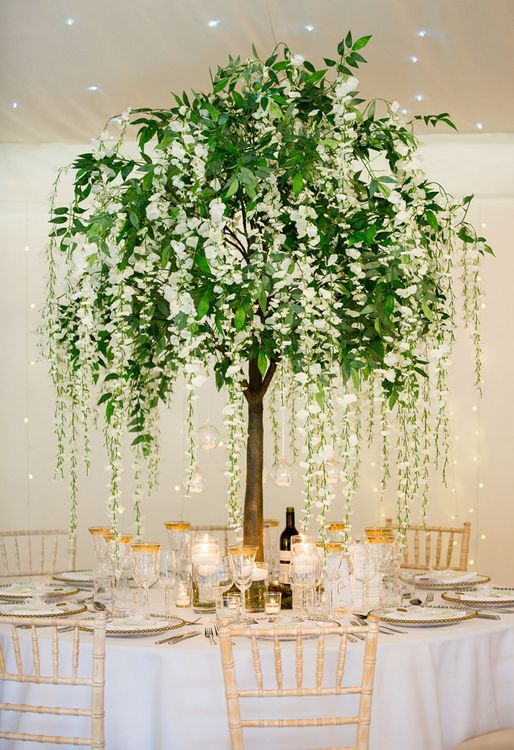 Miniature Tree Table Centrepiece with Handing White Flowers