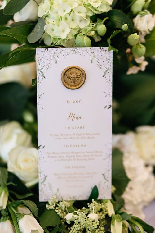 White and gold Menu Card with Wax Seal