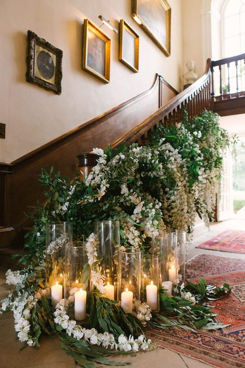 White Flower and Foliage Staircase Flowers with Candles