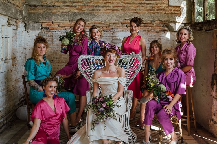 Bridesmaids In Pink, Purple & Teal // Secret Garden Party Inspired Wedding France Bride In Large Faux Floral Crown And Glitter Station With Groom In Floral Print Suit & Images From The Shannons