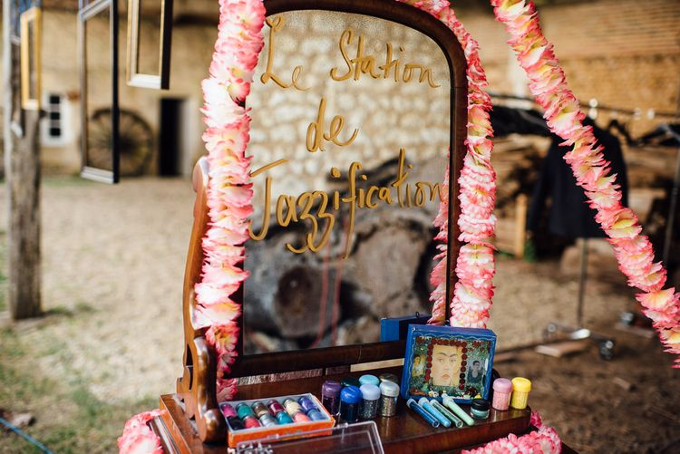 Glitter Station For Wedding // Secret Garden Party Inspired Wedding France Bride In Large Faux Floral Crown And Glitter Station With Groom In Floral Print Suit & Images From The Shannons