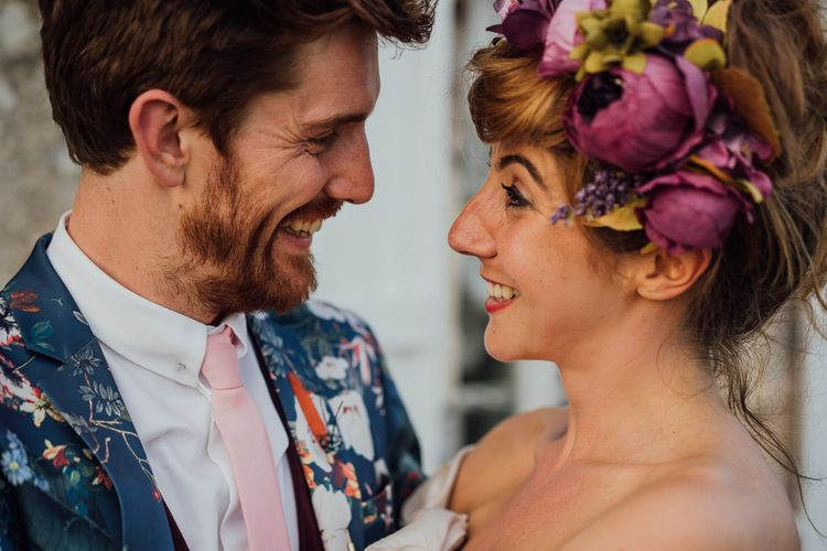 Secret Garden Party Inspired Wedding France Bride In Large Faux Floral Crown And Glitter Station With Groom In Floral Print Suit & Images From The Shannons