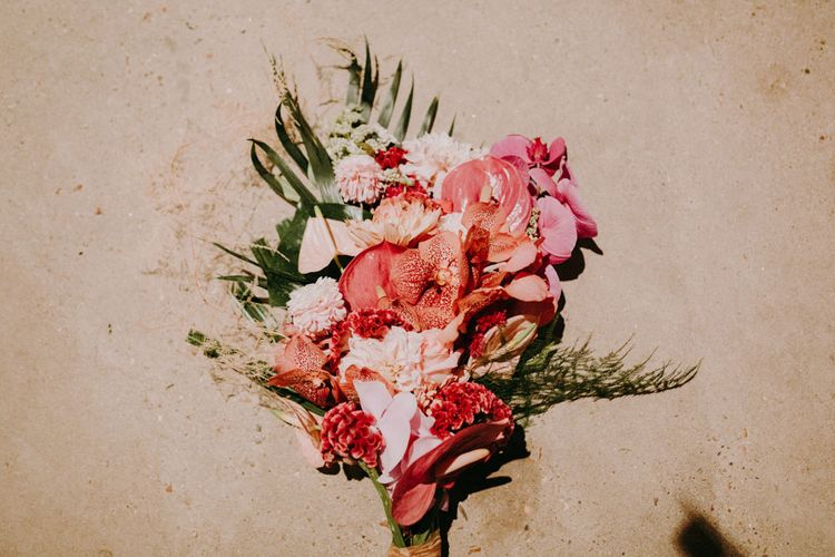 Pink Tropical Wedding Bouquet with Lillies