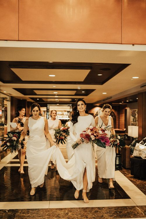 Beautiful Bridal Party Going to the Wedding Ceremony