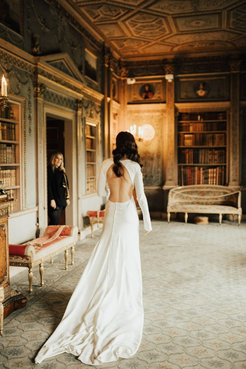 Bride in Homemade Wedding Dress with Backless Detail