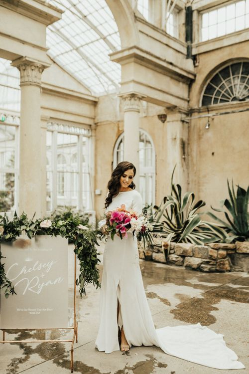 Beautiful Bride with Finger Waves and Homemade Wedding Dress