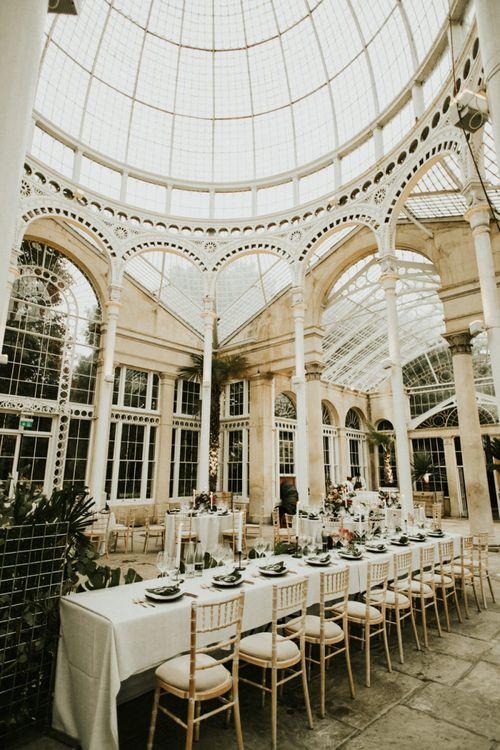 Long Wedding Reception Decor Under Orangery Dome
