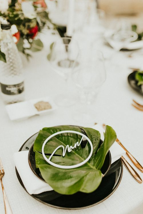Etched Name Place Setting  on Tropical Plant Leaf