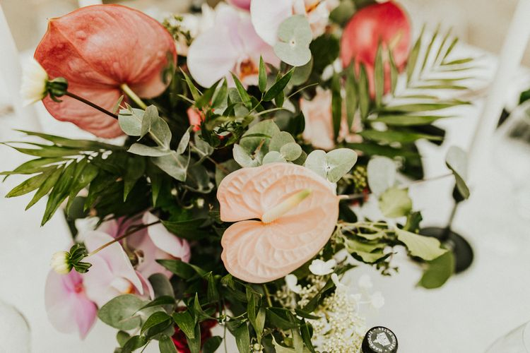 Tropical Plant Wedding Flower Centrepiece with Lillies