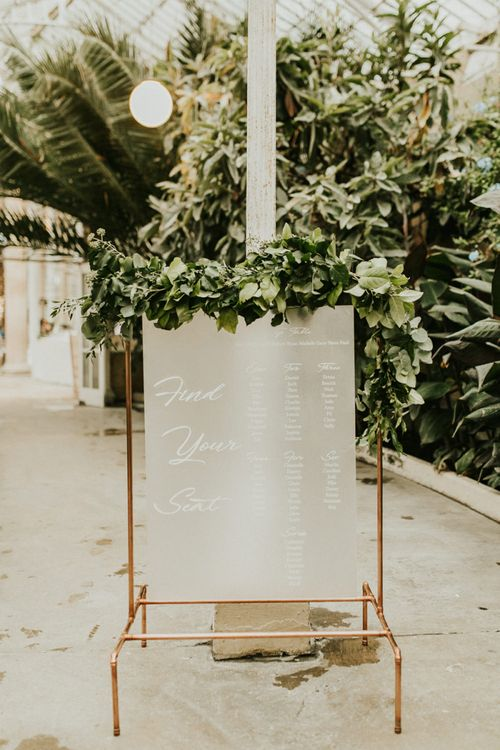 Copper Framed Table Plan with Grey Seating Chart and Foliage Decor
