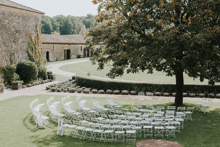 Outdoor Wedding Ceremony At Chateau Rigaud Bordeaux