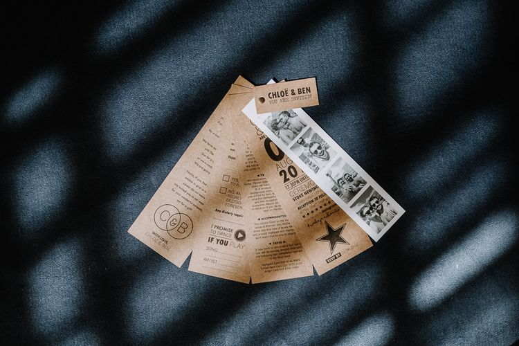 Kraft Paper Wedding Invitation in Fan Design with Polaroid Pictures | Floral Arch and Bride in Batwing Sleeve Halfpenny Dress for London Pub Wedding | Caitlin + Jones