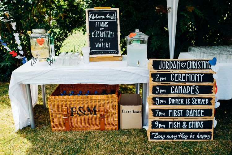 Order of The Day Sign | Drinks Station | Wedding Decor | Bright DIY 'At Home' Outdoor Garden Ceremony & Marquee Reception | Marianne Chua Photography