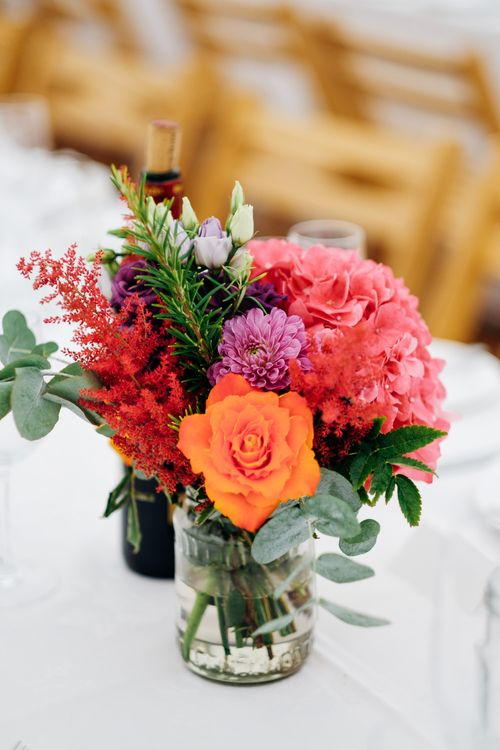 Colourful Flowers in Jars | Wedding Flowers | Bright DIY 'At Home' Outdoor Garden Ceremony & Marquee Reception | Marianne Chua Photography