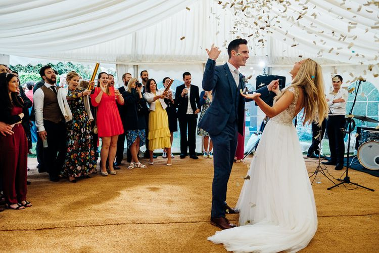 First Dance | Bride in Beaded Bodice Gown | Groom in Blue Reiss Suit | Bright DIY 'At Home' Outdoor Garden Ceremony & Marquee Reception | Marianne Chua Photography