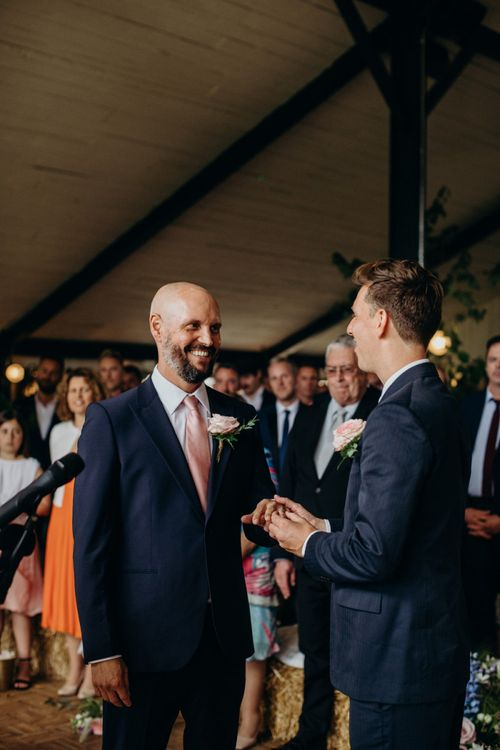Groom and Groom Exchanging Vows at Soho Farmhouse