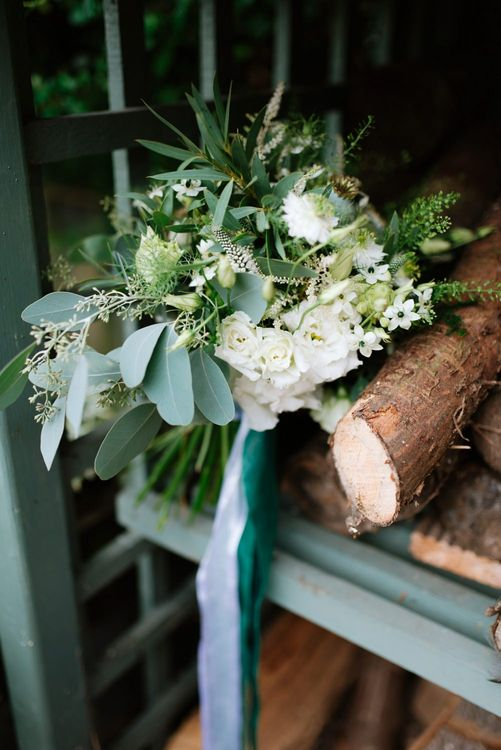 White & Green Bouquet | Fun Stretch Tent Reception on Primary School Field in Sheffield |  Tub of Jelly Photography