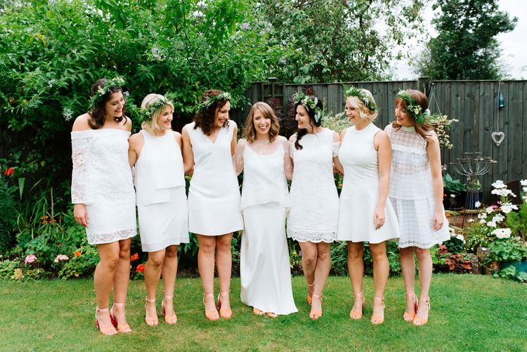 Bridal Party | Bride in Delphine Manivet | Bridesmaids in White High Street Dresses | Fun Stretch Tent Reception on Primary School Field in Sheffield |  Tub of Jelly Photography