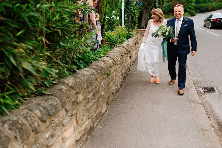Bridal Entrance in Delphine Manivet Gown | Fun Stretch Tent Reception on Primary School Field in Sheffield |  Tub of Jelly Photography