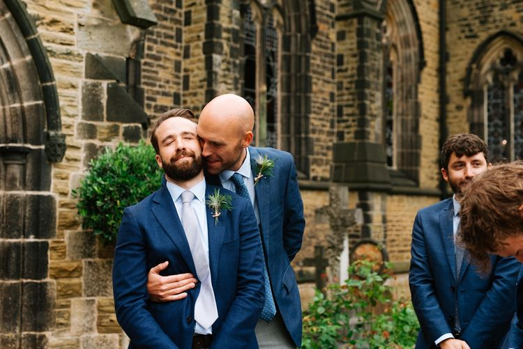 Groomsmen in Navy Jackets | Fun Stretch Tent Reception on Primary School Field in Sheffield |  Tub of Jelly Photography